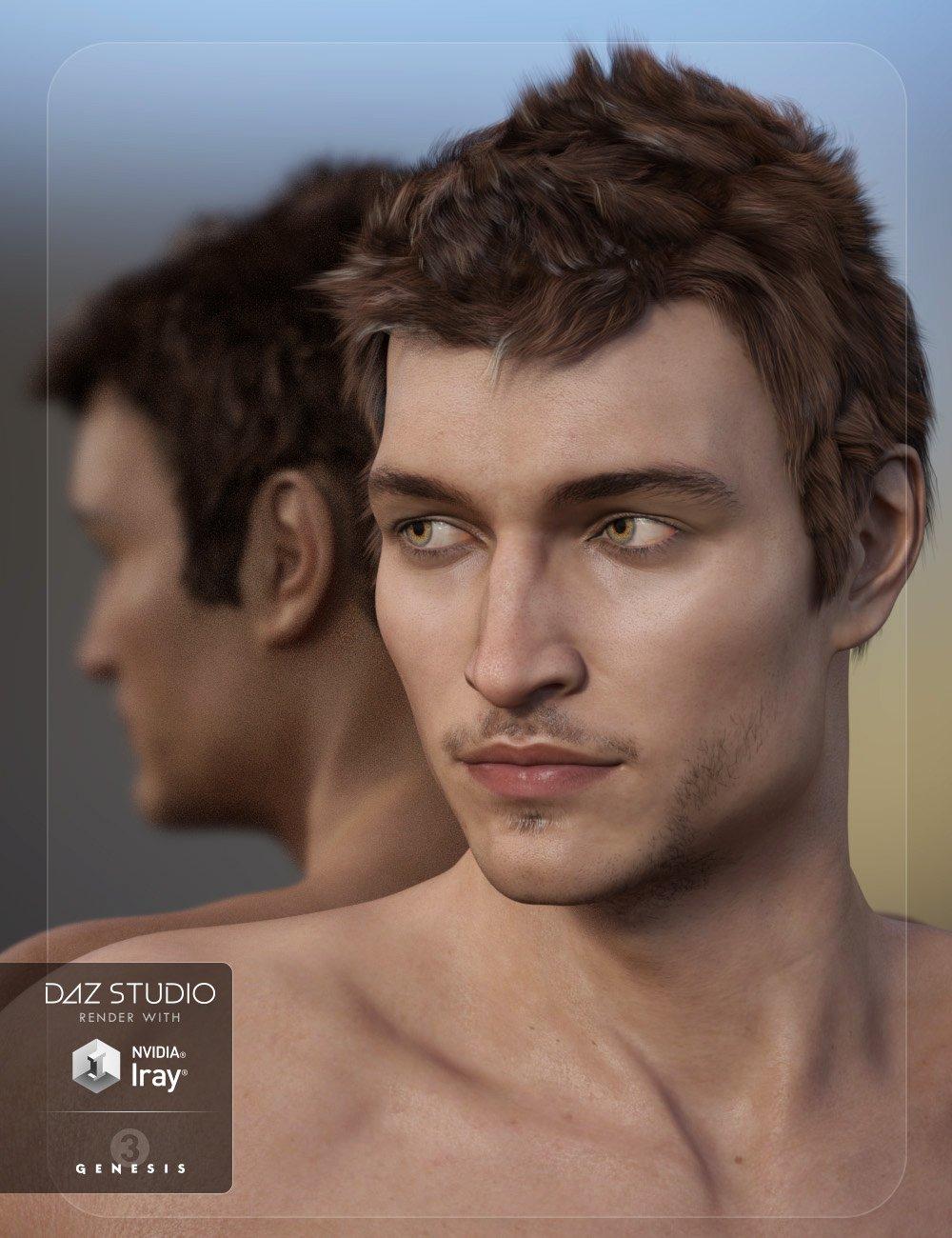 Adam Hair for Genesis 3 Male(s) by: 3DCelebrity, 3D Models by Daz 3D