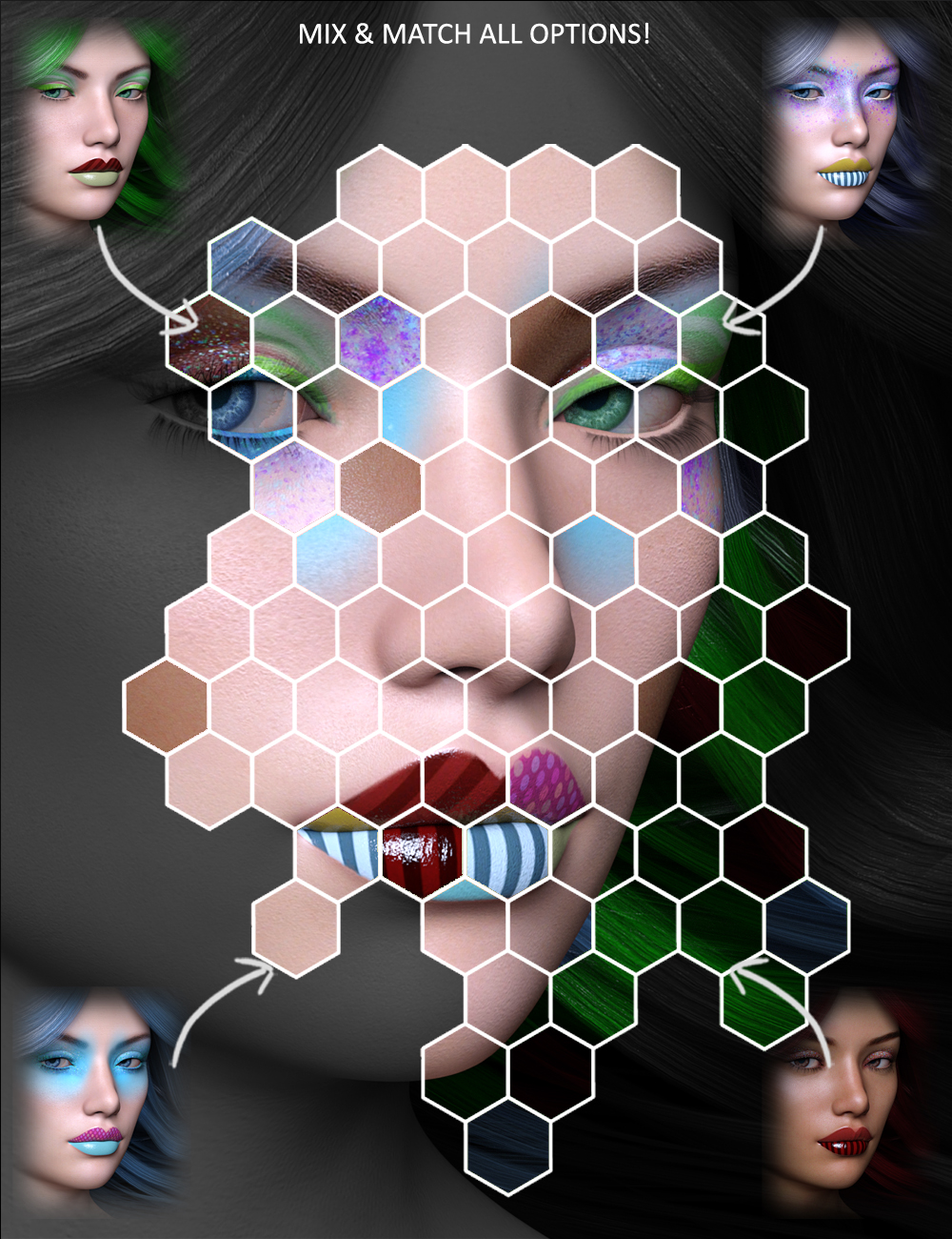 Extreme Closeup: Psychedelic Makeup for Genesis 3 Female(s) by: ForbiddenWhispers, 3D Models by Daz 3D