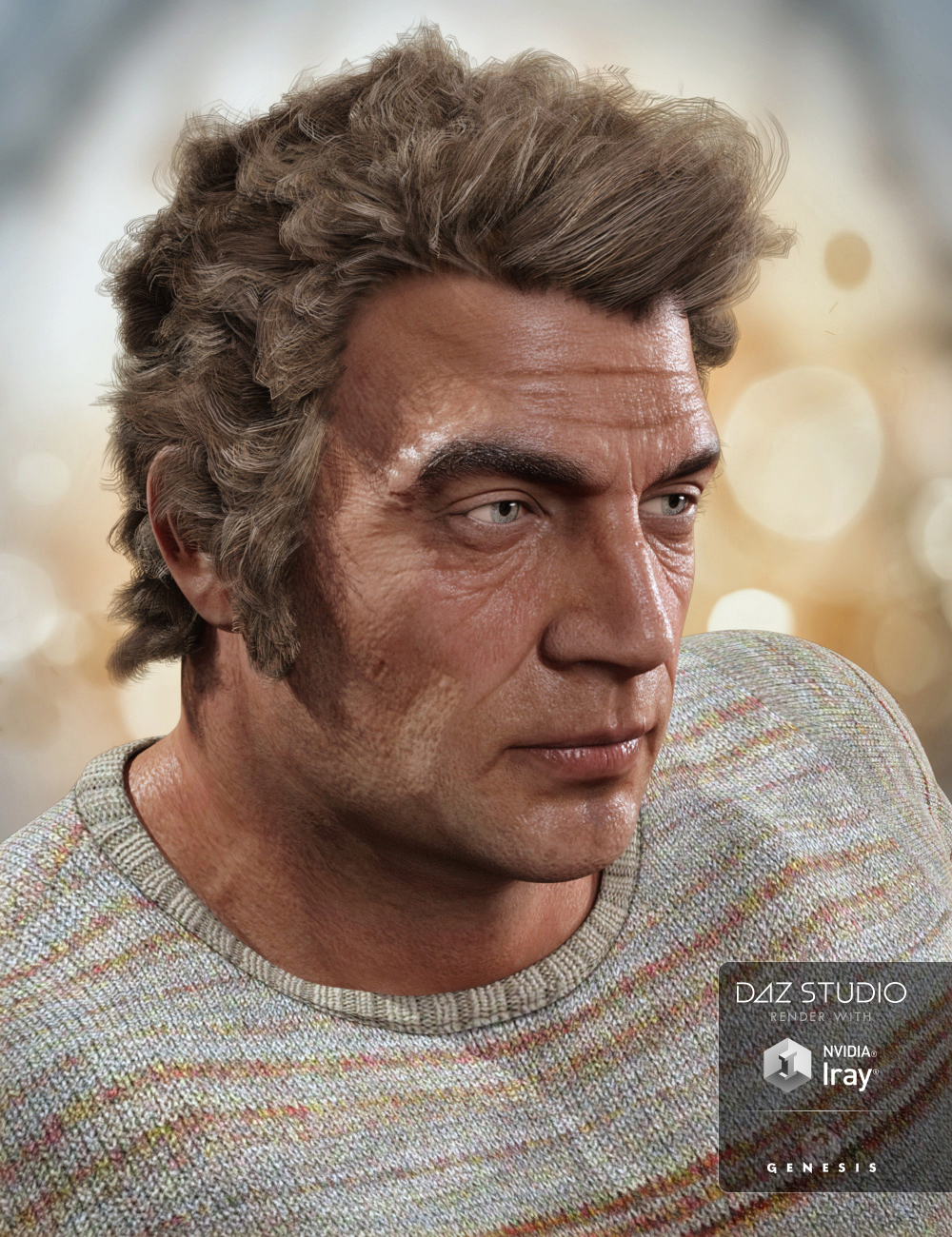 Thomas Hair for Genesis 3 Male(s) by: 3DCelebrity, 3D Models by Daz 3D