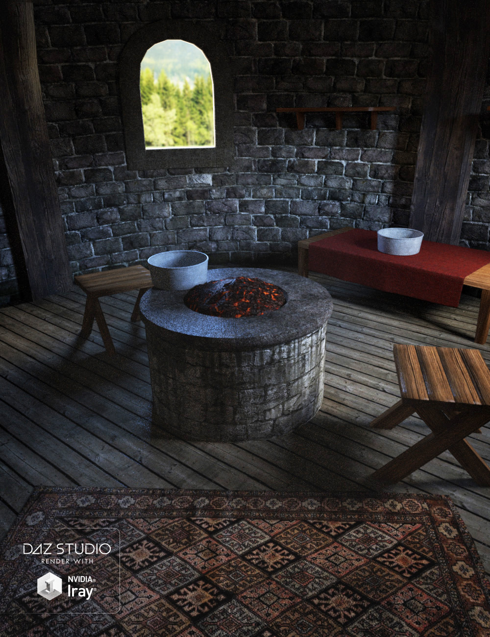 Fantasy Tower Room Interior by: , 3D Models by Daz 3D