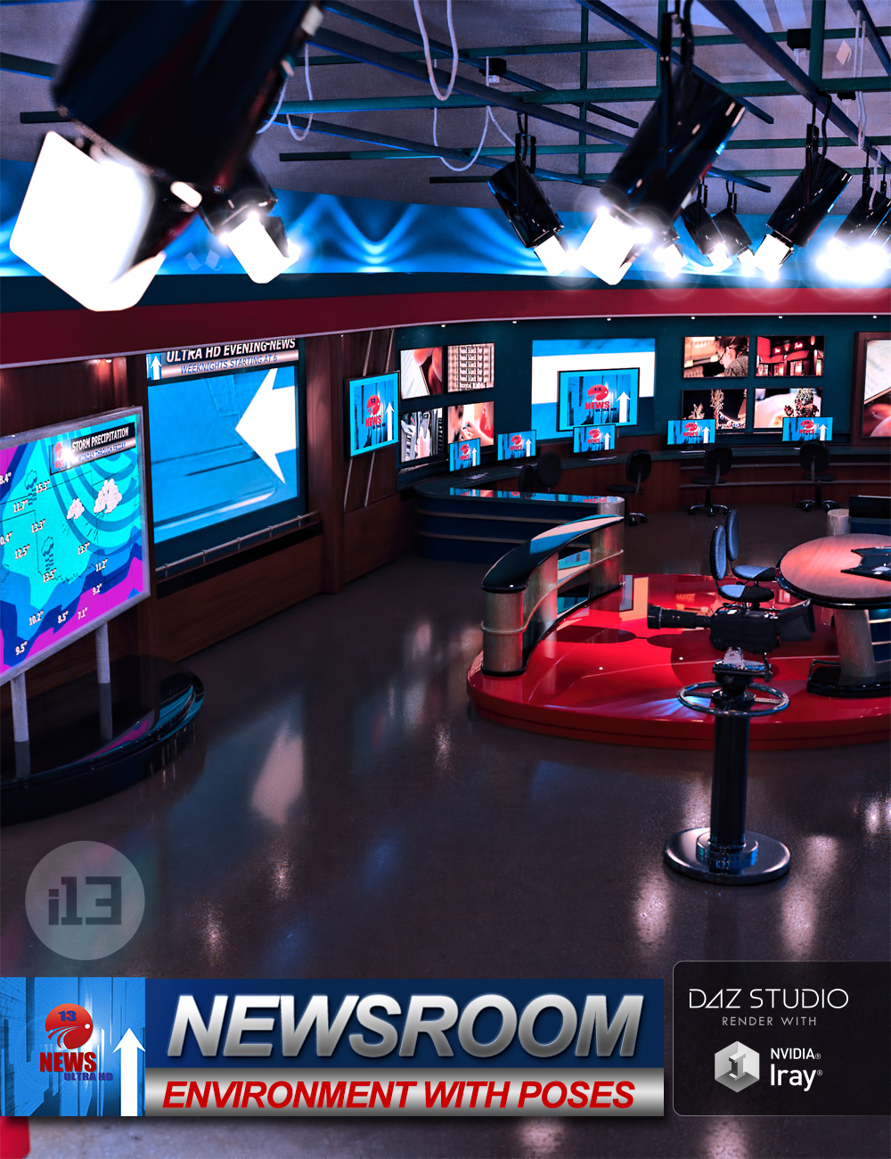 i13 Newsroom with Poses by: ironman13, 3D Models by Daz 3D
