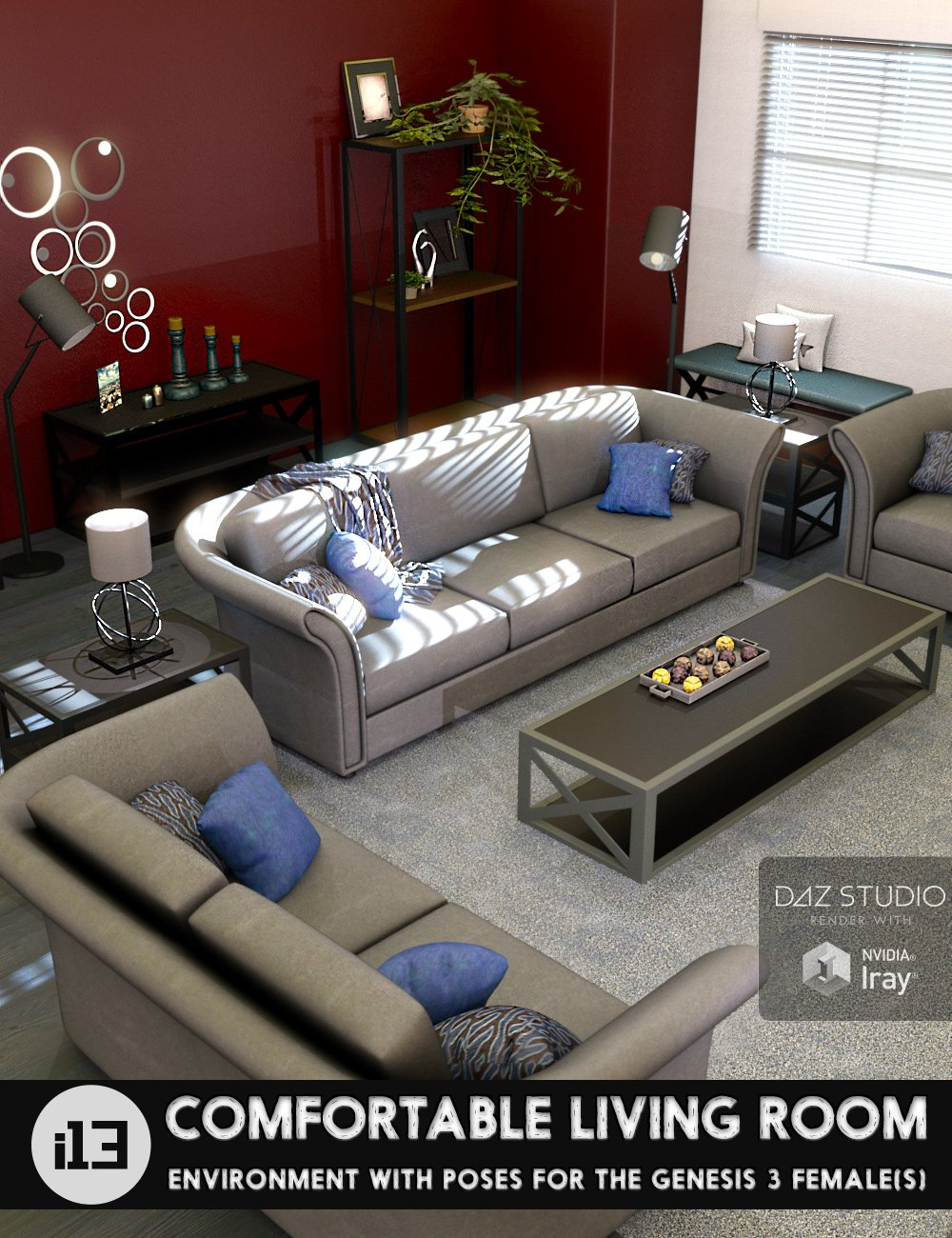 i13 Comfortable Living Room with Poses for the Genesis 3 Female(s) by: ironman13, 3D Models by Daz 3D