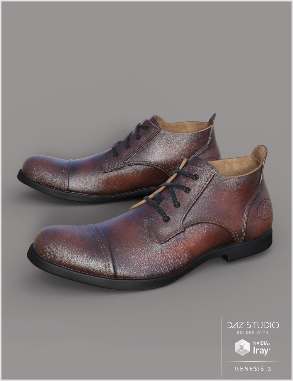 Leather Shoes For Genesis 3 Male(s) by: Cute3D, 3D Models by Daz 3D