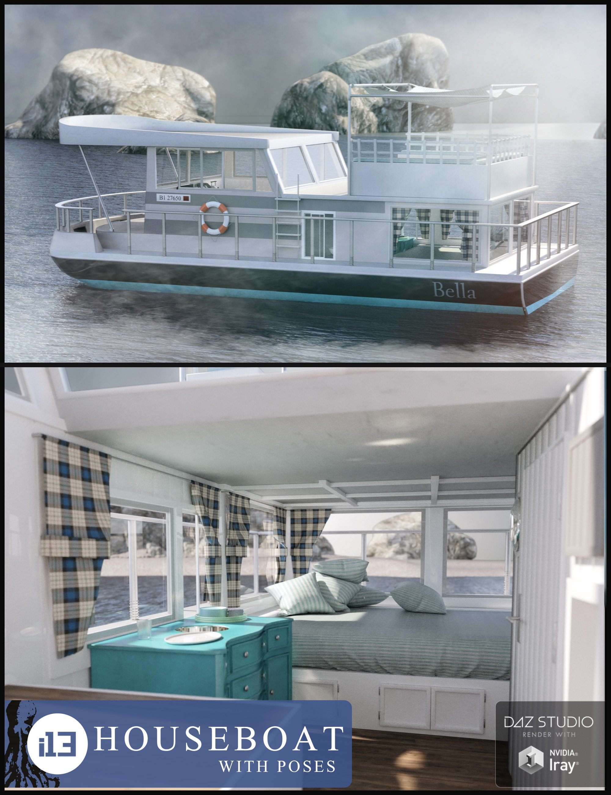 i13 Houseboat with Poses by: ironman13, 3D Models by Daz 3D