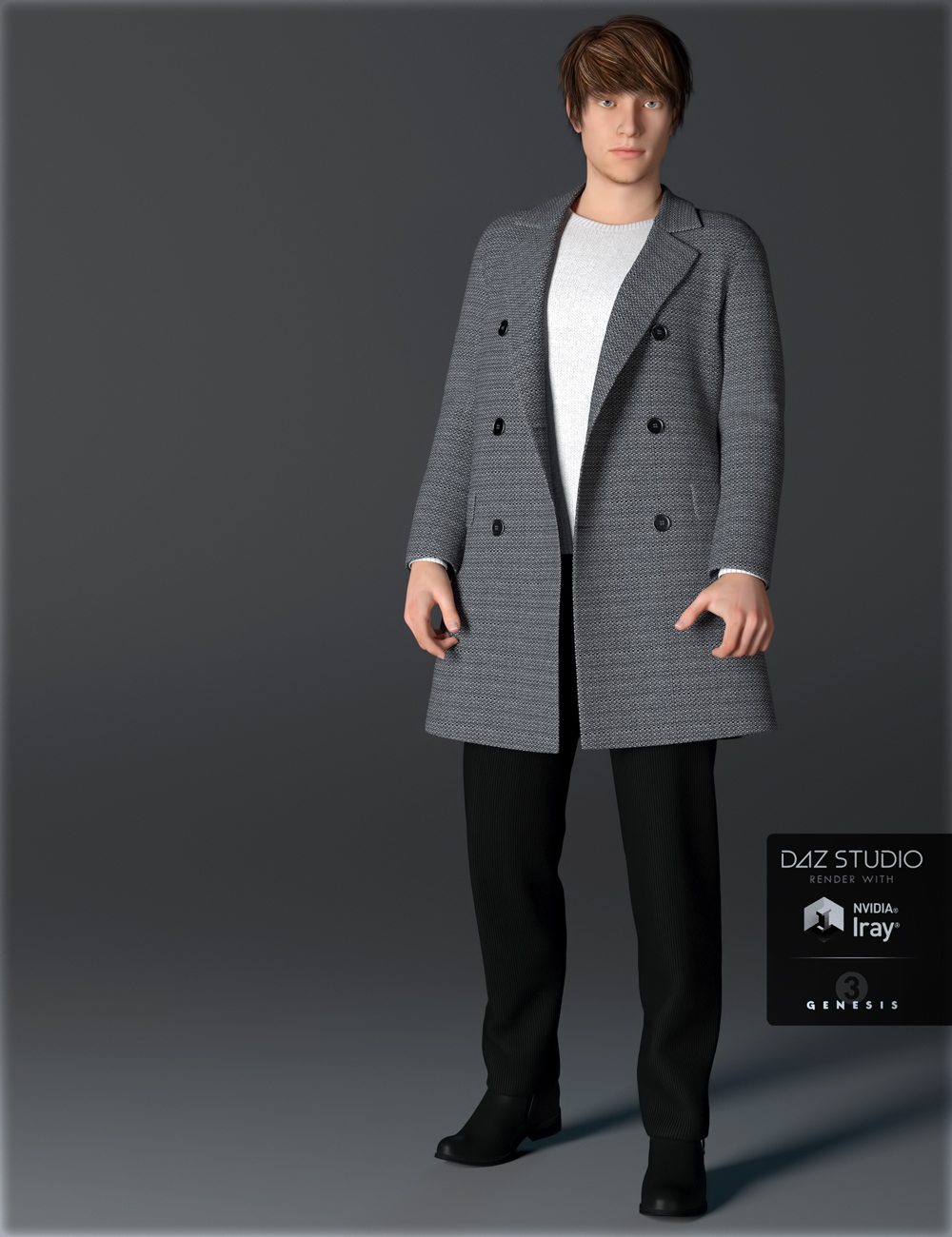 H&C Coat Outfit A for Genesis 3 Male(s) by: IH Kang, 3D Models by Daz 3D
