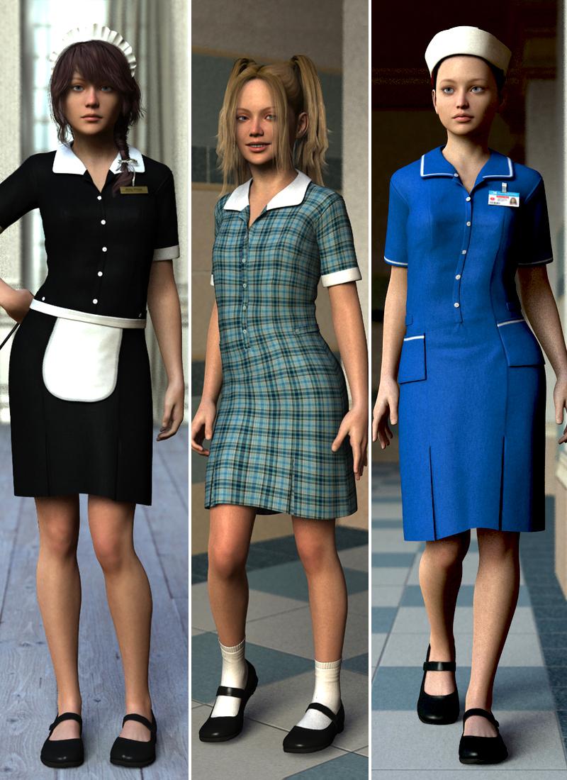Uniform Dress for Genesis 2 Female(s) by: Dogz, 3D Models by Daz 3D