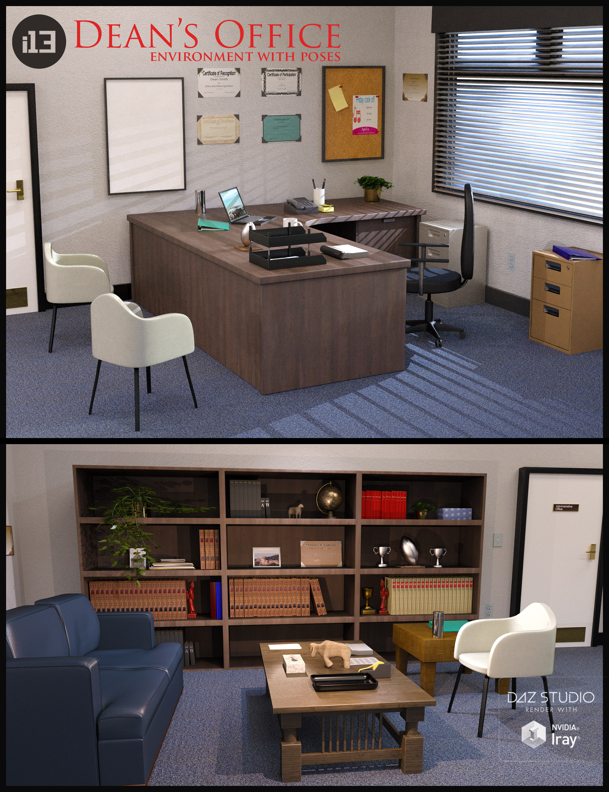 i13 Dean's Office with Poses by: ironman13, 3D Models by Daz 3D