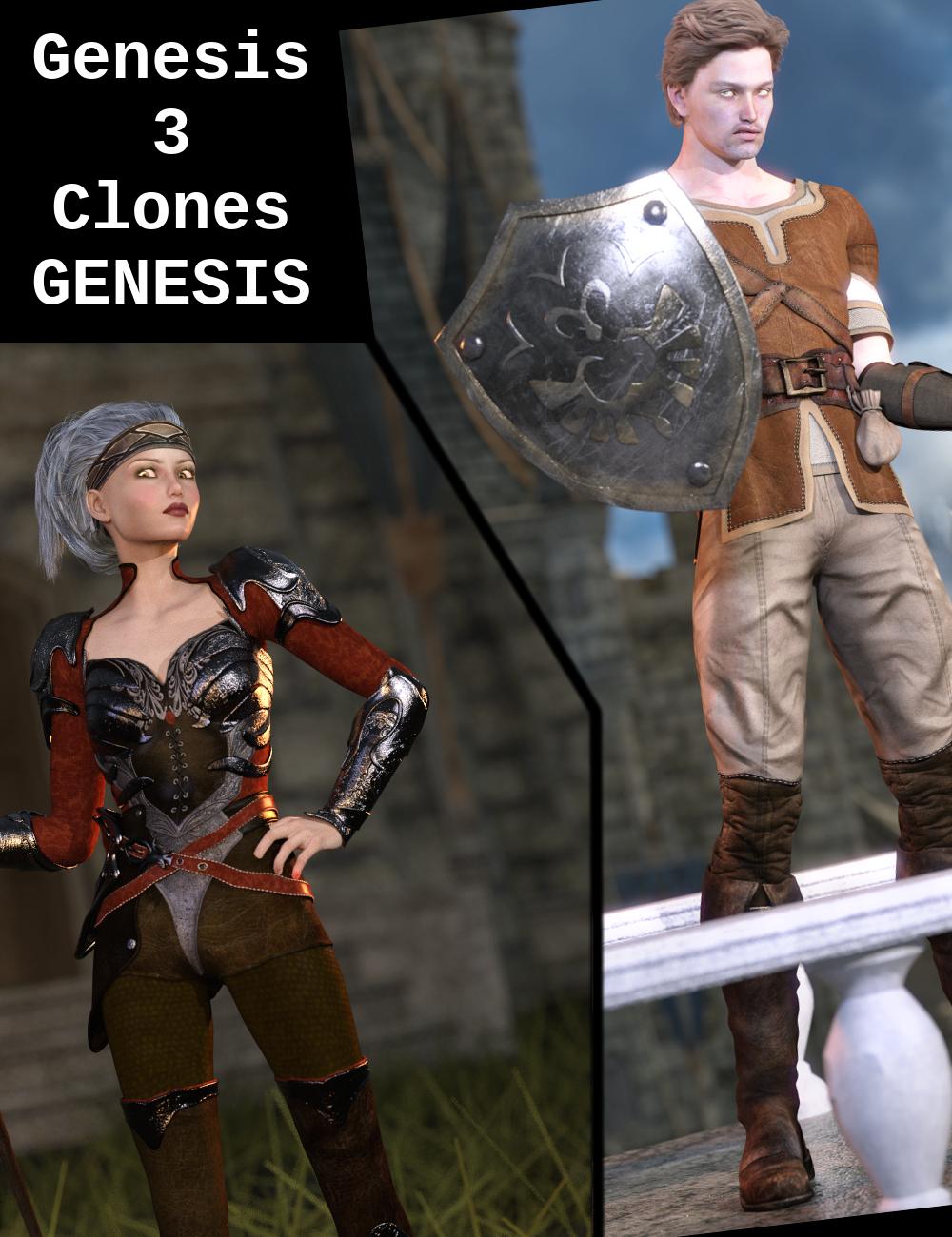 Genesis 3 Clones for Genesis Bundle by: Sickleyield, 3D Models by Daz 3D