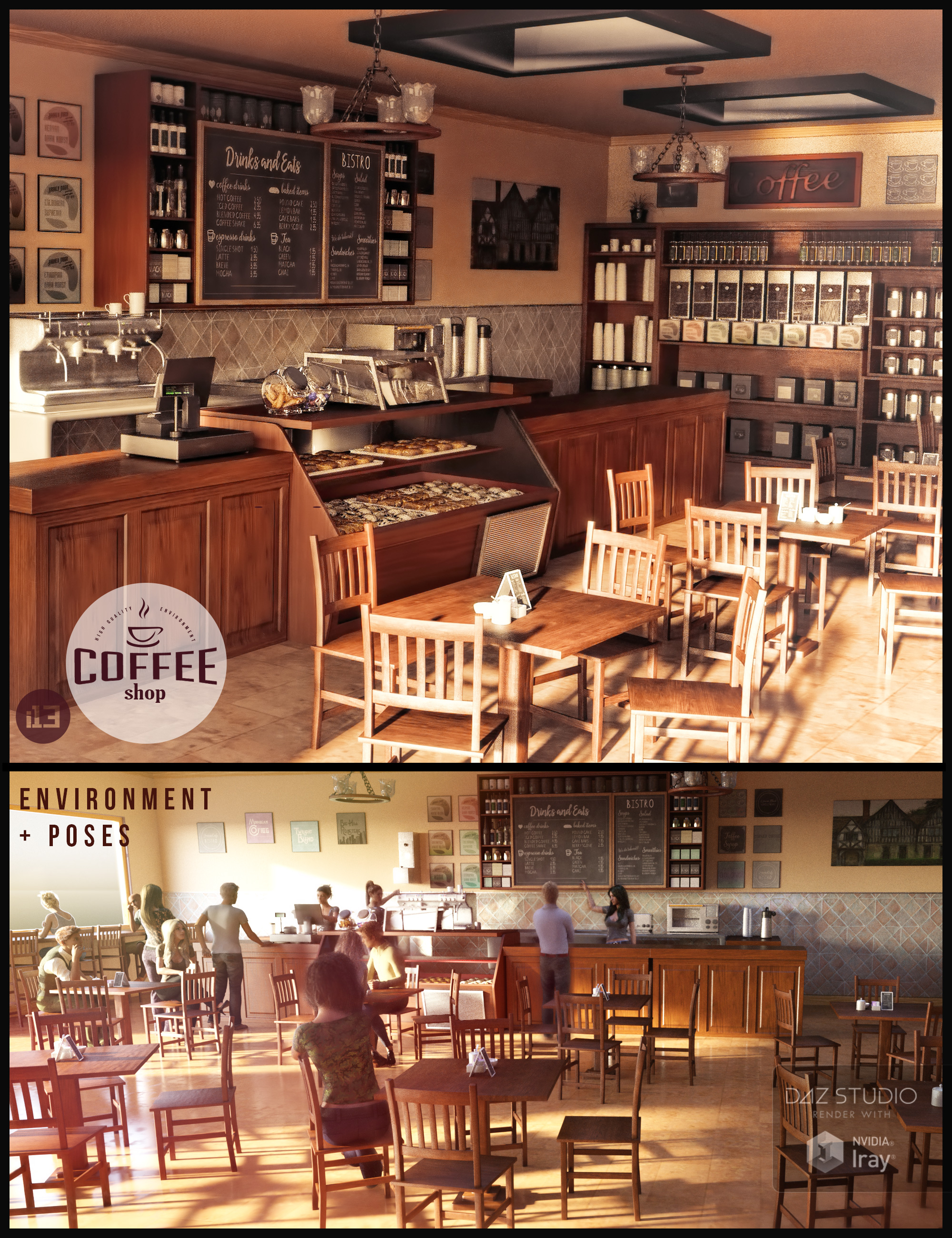 i13 Coffee Shop Environment with Poses by: ironman13, 3D Models by Daz 3D