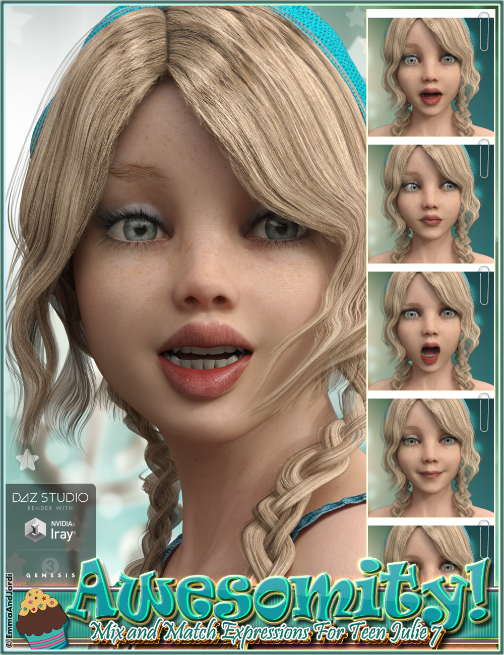 Awesomity Mix and Match Expressions for Tween Julie 7 and Genesis 3 Female(s) by: EmmaAndJordi, 3D Models by Daz 3D