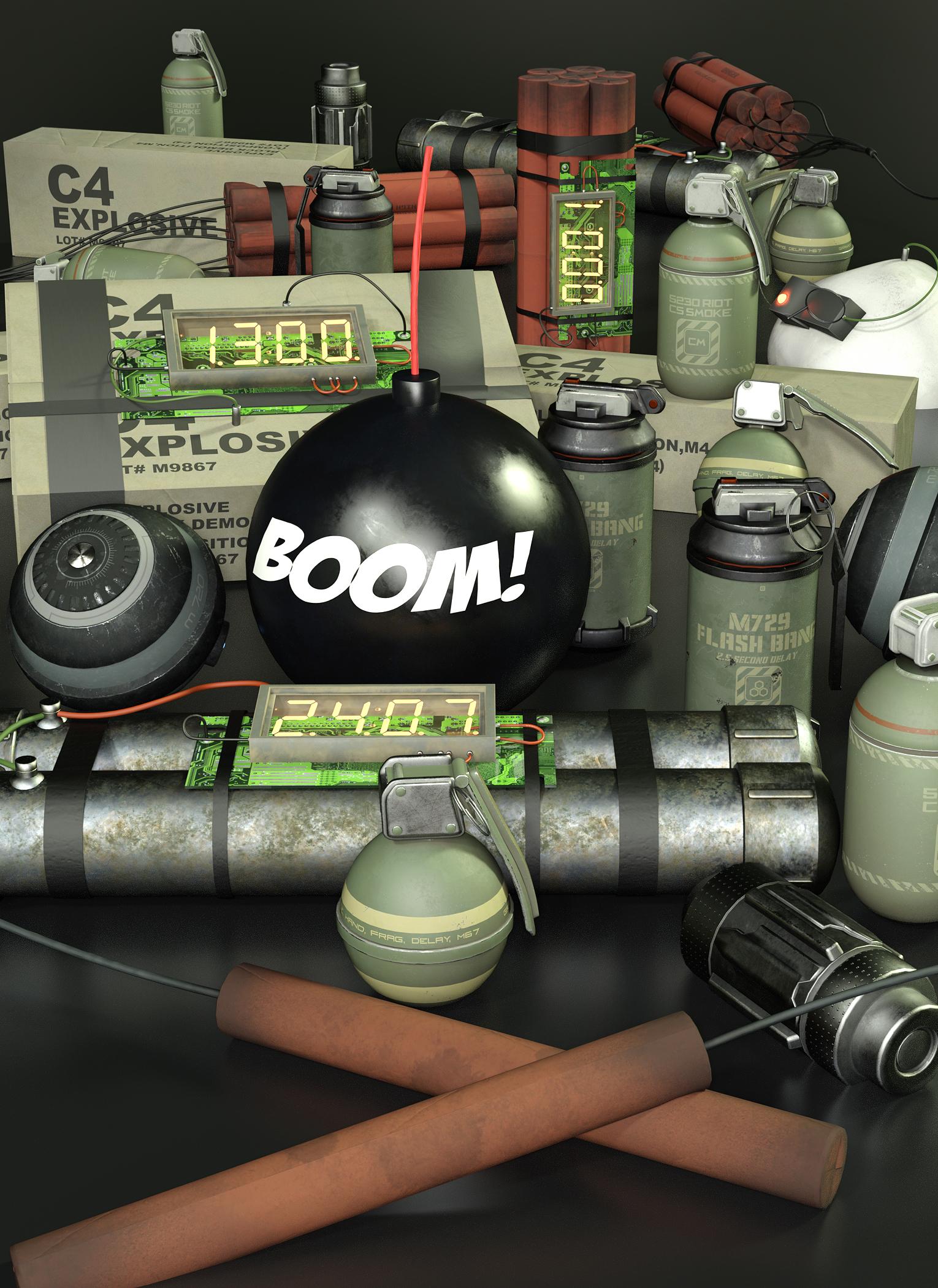 Explosive Props by: The AntFarm, 3D Models by Daz 3D