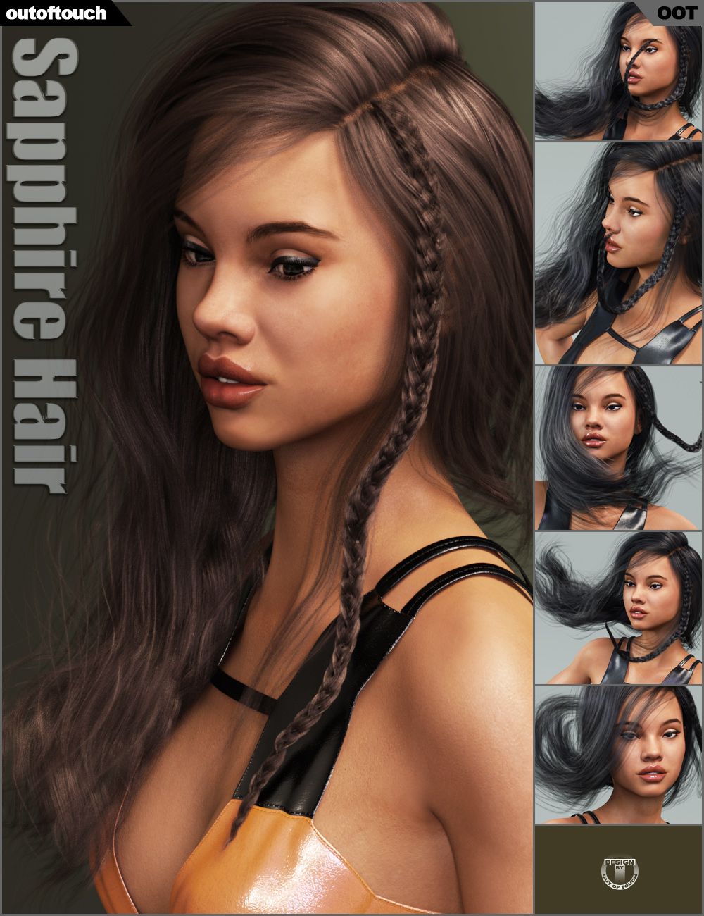 Sapphire Hair by: outoftouch, 3D Models by Daz 3D