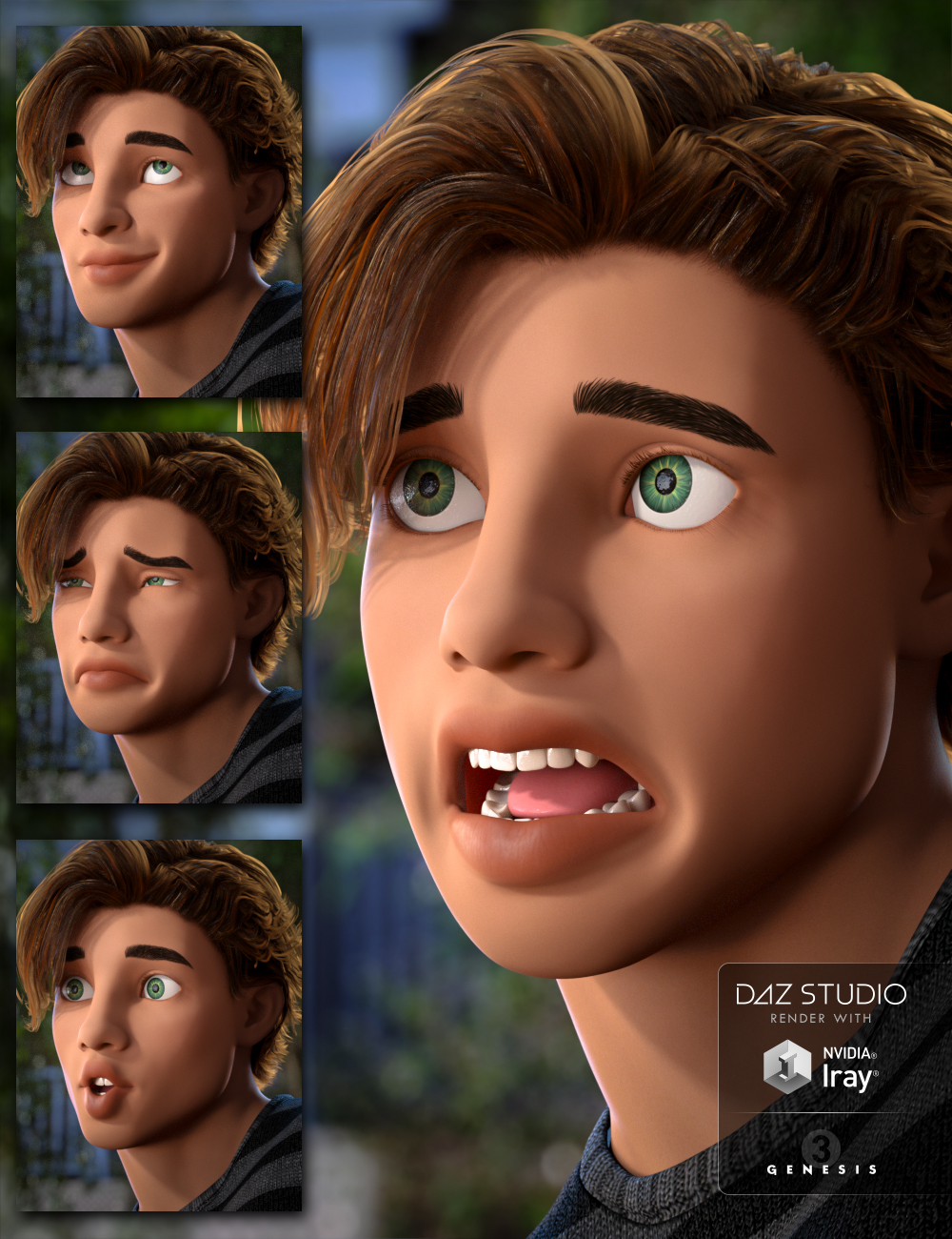 Capsces Tooned Expressions for The Guy 7 by: Capsces Digital Ink, 3D Models by Daz 3D