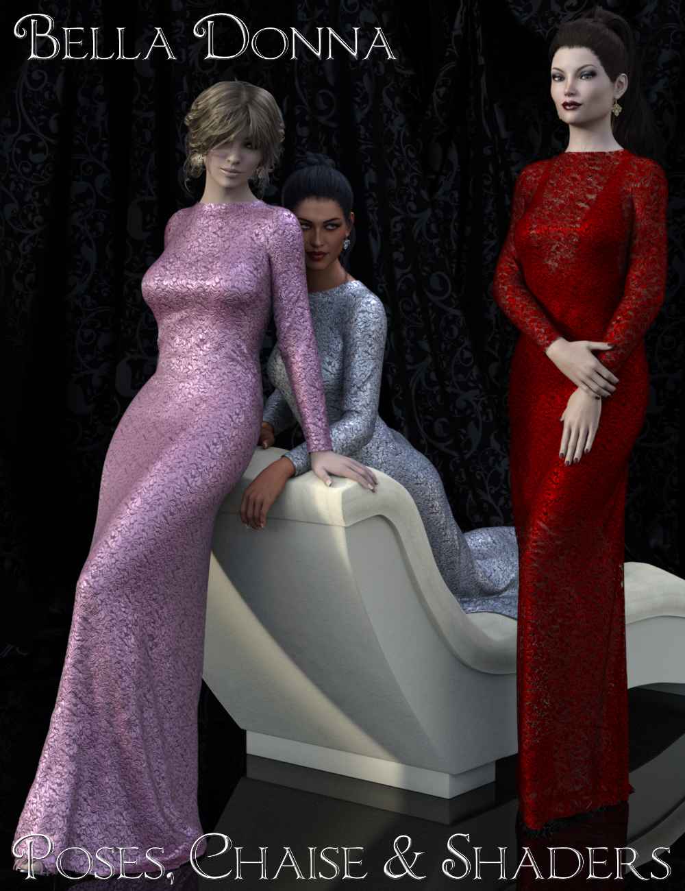 Bella Donna Poses, Chaise & Shaders by: PandyGirlElliandra, 3D Models by Daz 3D