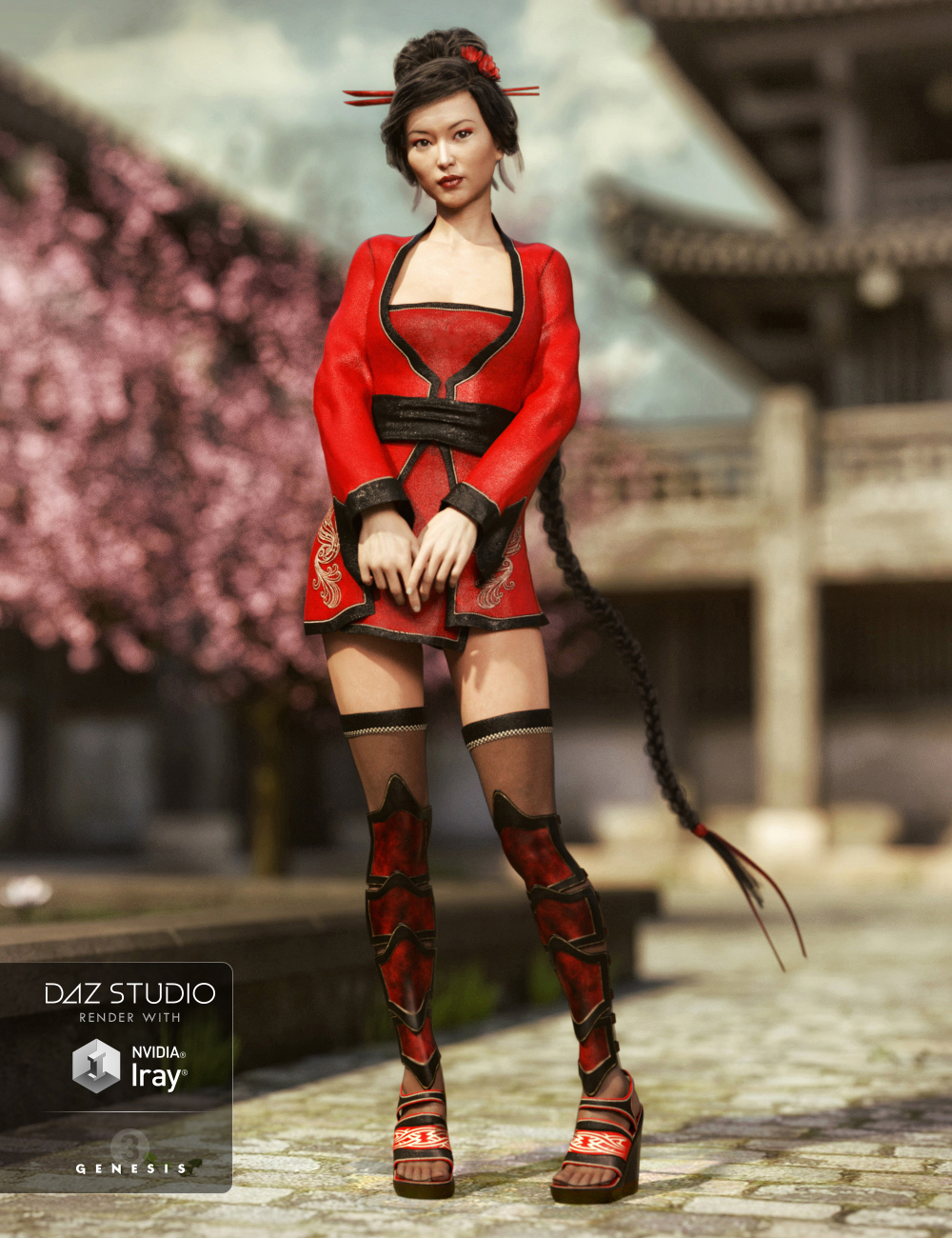 Red Lilies Outfit for Genesis 3 Female(s) by: Barbara BrundonSarsa, 3D Models by Daz 3D