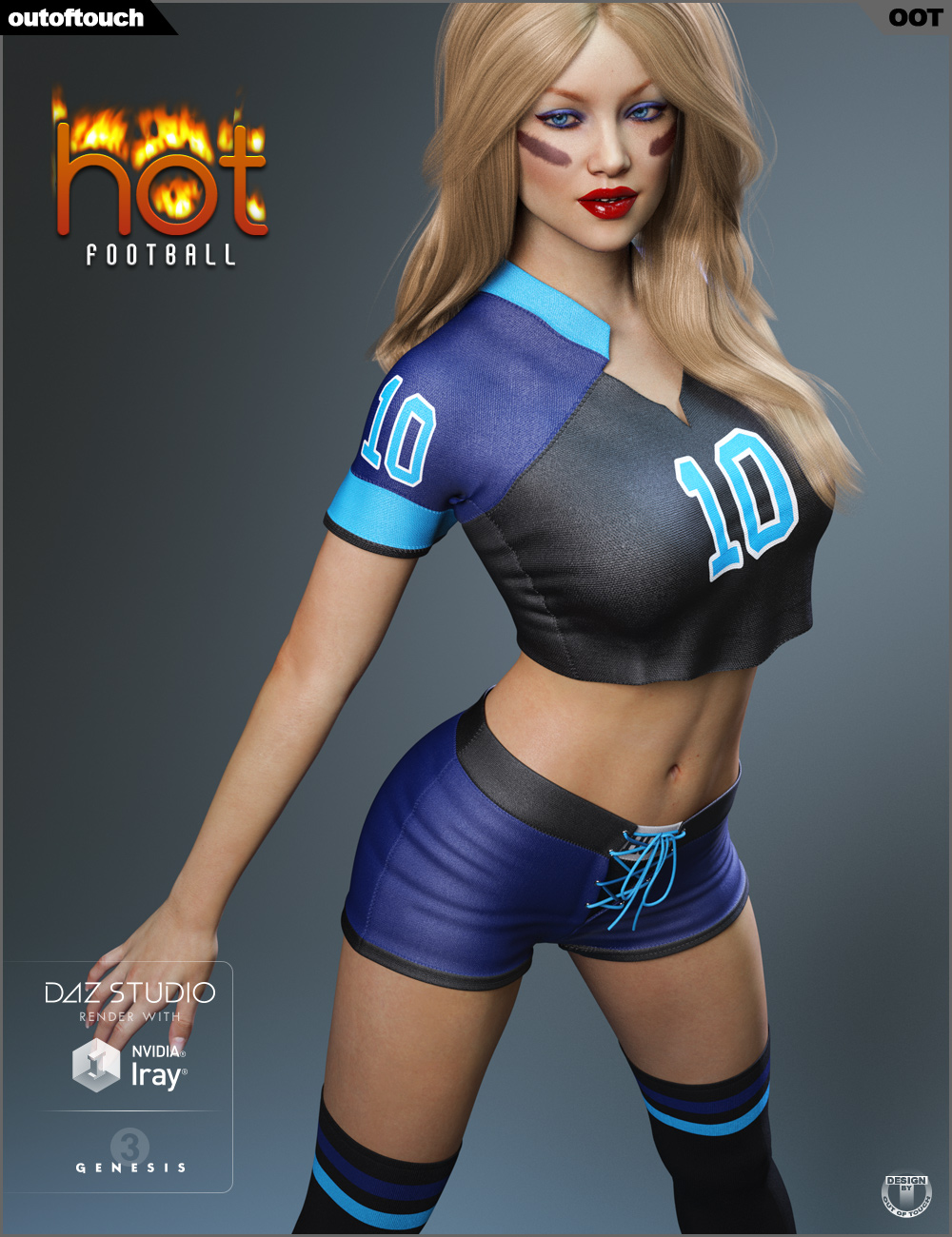 HOT Football Outfit for Genesis 3 Female(s) by: outoftouch, 3D Models by Daz 3D