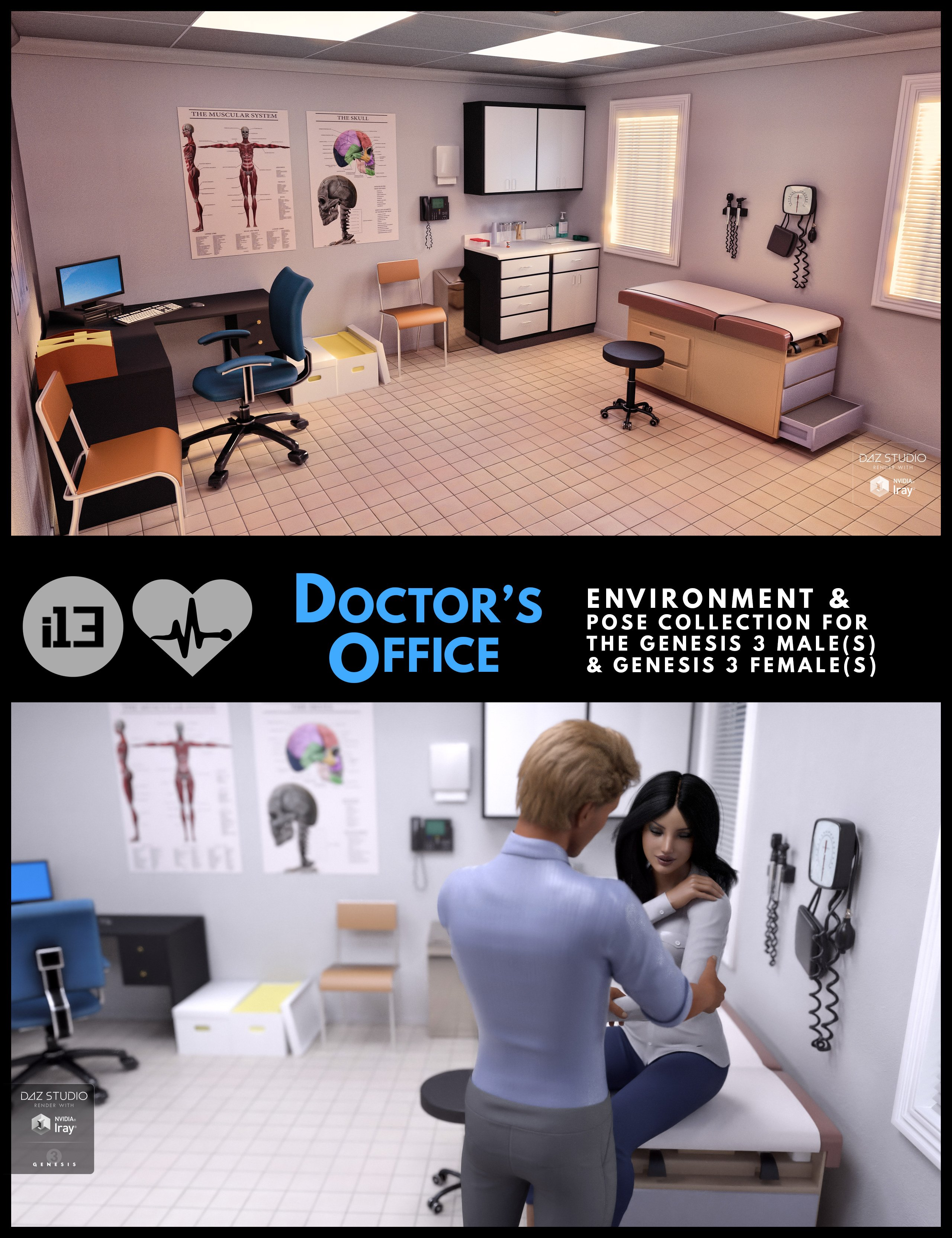 i13 Doctor's Office Environment with Poses by: ironman13, 3D Models by Daz 3D