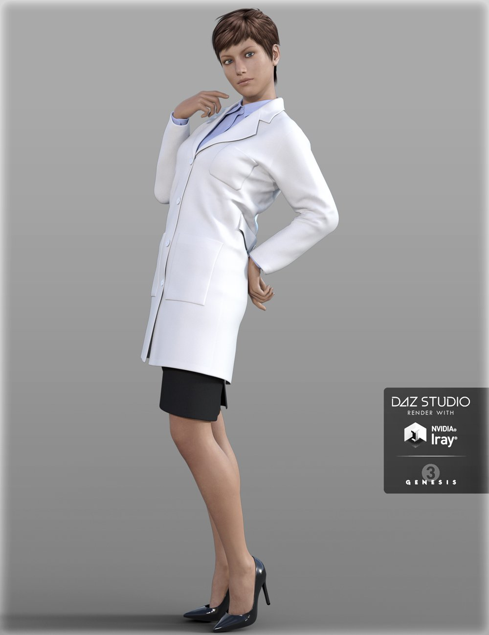 Doctor Coat Outfit for Genesis 3 Female(s) by: IH Kang, 3D Models by Daz 3D