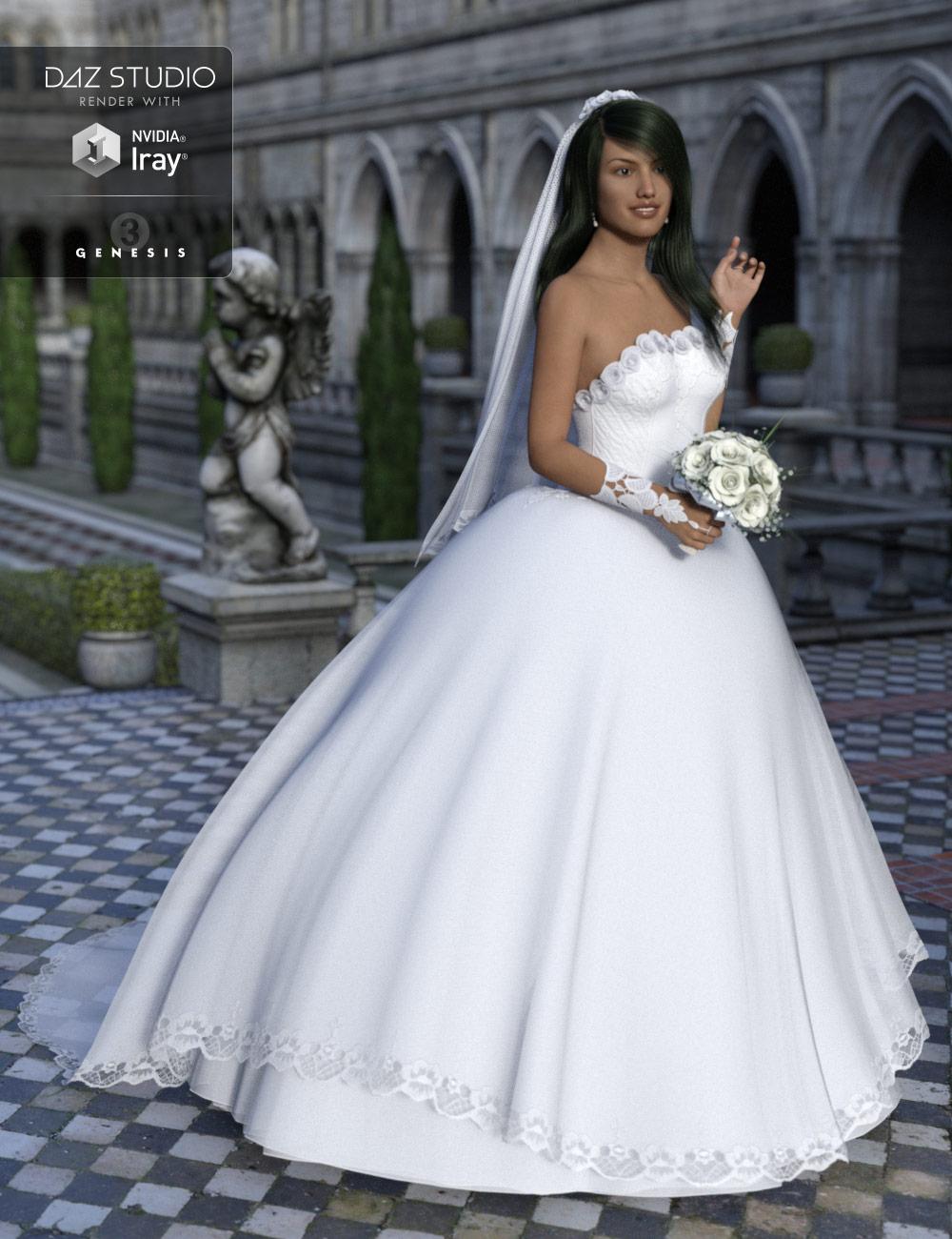 Wedding Dress for Genesis 3 Female(s) by: ile-avalon, 3D Models by Daz 3D
