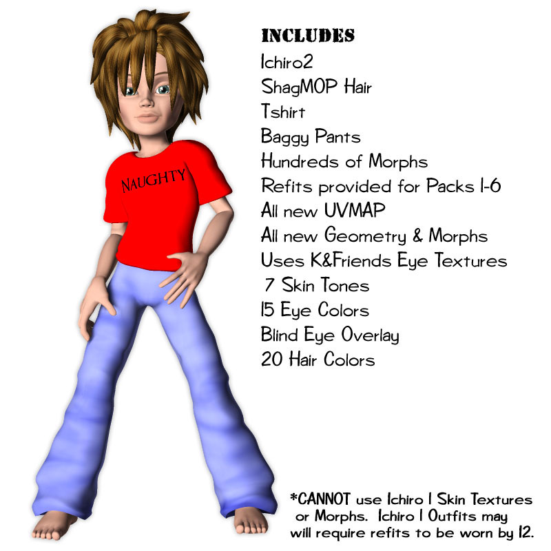 Ichiro2 - Full Version  (Ichiro1 Included) by: Lady LittlefoxRuntimeDNA, 3D Models by Daz 3D
