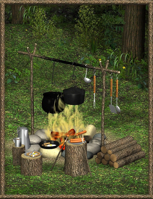FIRE! Campfire and Cooking Set by: blondie9999, 3D Models by Daz 3D
