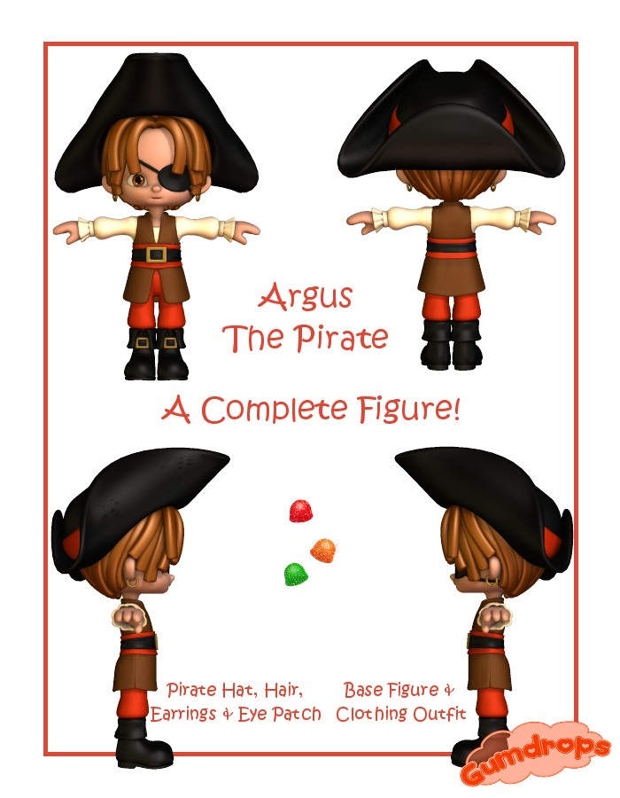 Gumdrops: Argus the Pirate by: Lady LittlefoxCapsces Digital InkRuntimeDNA, 3D Models by Daz 3D