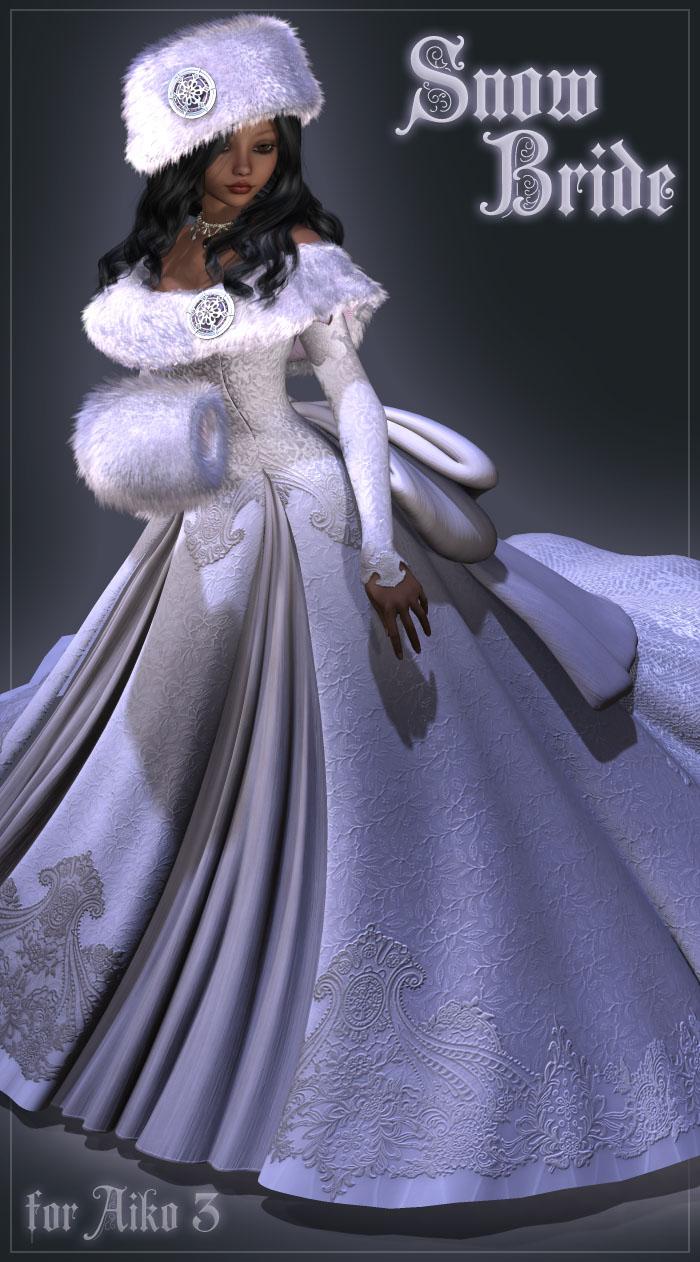 Snow Bride Bundle (A3, V3, and V4) by: Lady LittlefoxRuntimeDNA, 3D Models by Daz 3D