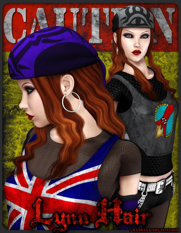 Lynn Hair for V4 by: Lady LittlefoxRuntimeDNA, 3D Models by Daz 3D