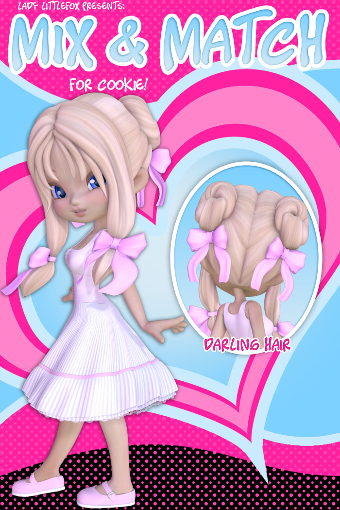 Cookie Mix and Match: Darling Hair by: Lady LittlefoxRuntimeDNA, 3D Models by Daz 3D