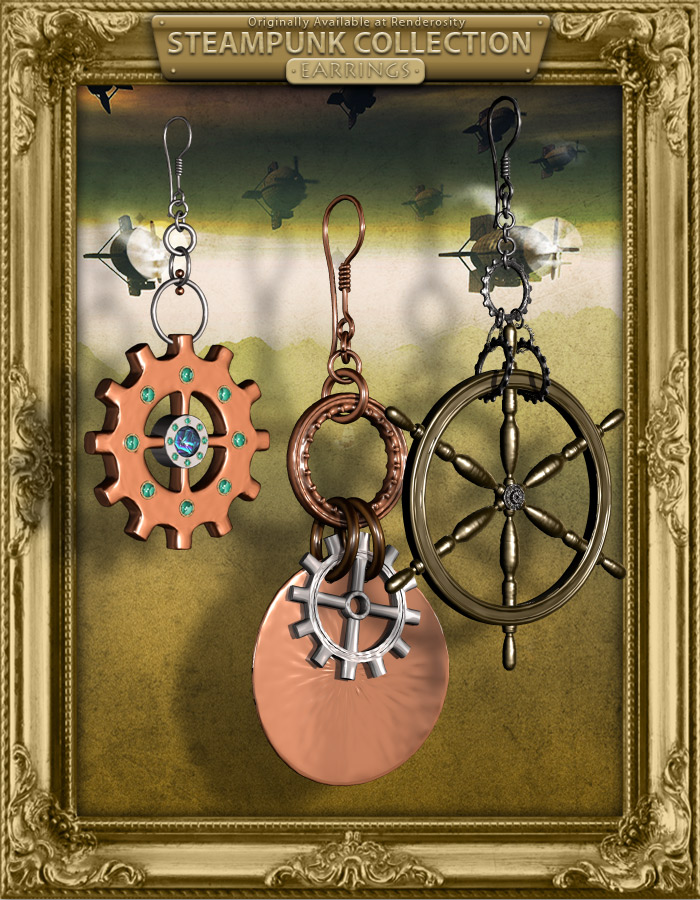 Steampunk Collection Earrings by: inception8RuntimeDNA, 3D Models by Daz 3D