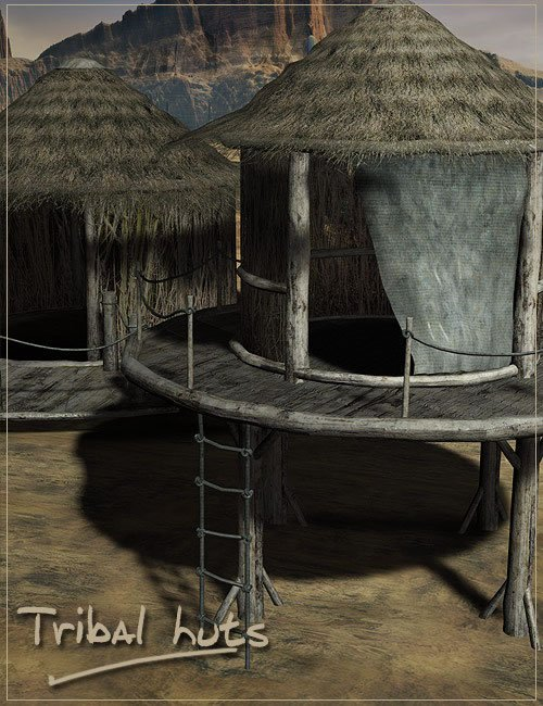 Tribal Village Huts by: , 3D Models by Daz 3D