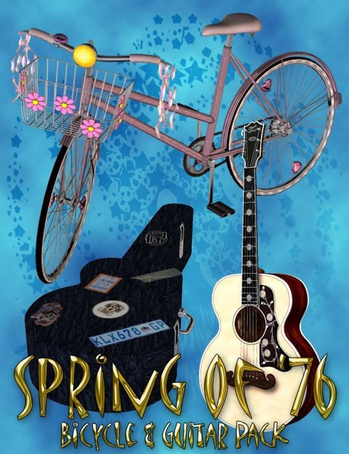 Spring of '76 - Bicycle and Guitar Set by: 3D Universe, 3D Models by Daz 3D