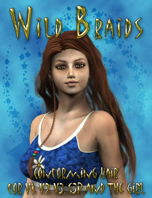 Spring of '76 - Wild Braids Hair by: 3D Universe, 3D Models by Daz 3D