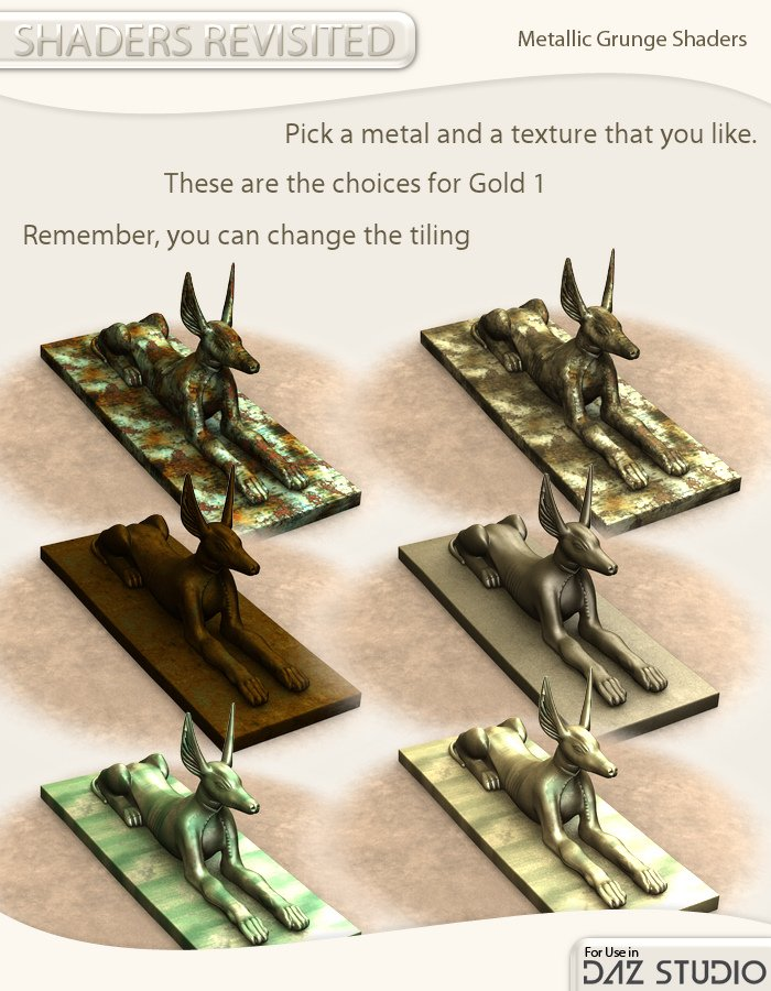Shaders Revisited - Metallic grunge shaders for DAZ Studio by: , 3D Models by Daz 3D