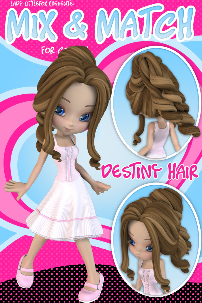 Cookie Mix and Match: Destiny Hair by: Lady LittlefoxRuntimeDNA, 3D Models by Daz 3D