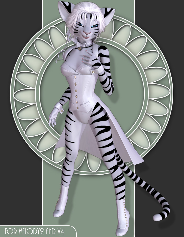 White Tiger for Melody2 by: Lady LittlefoxRuntimeDNA, 3D Models by Daz 3D