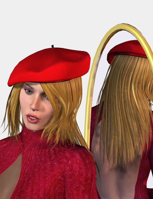 Beret with Hair by: Jim Burton, 3D Models by Daz 3D