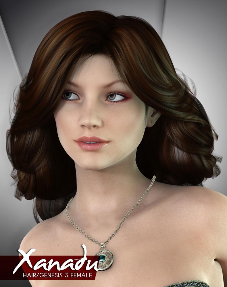 Xanadu Hair for Genesis 3 Female by: Lady LittlefoxRuntimeDNA, 3D Models by Daz 3D