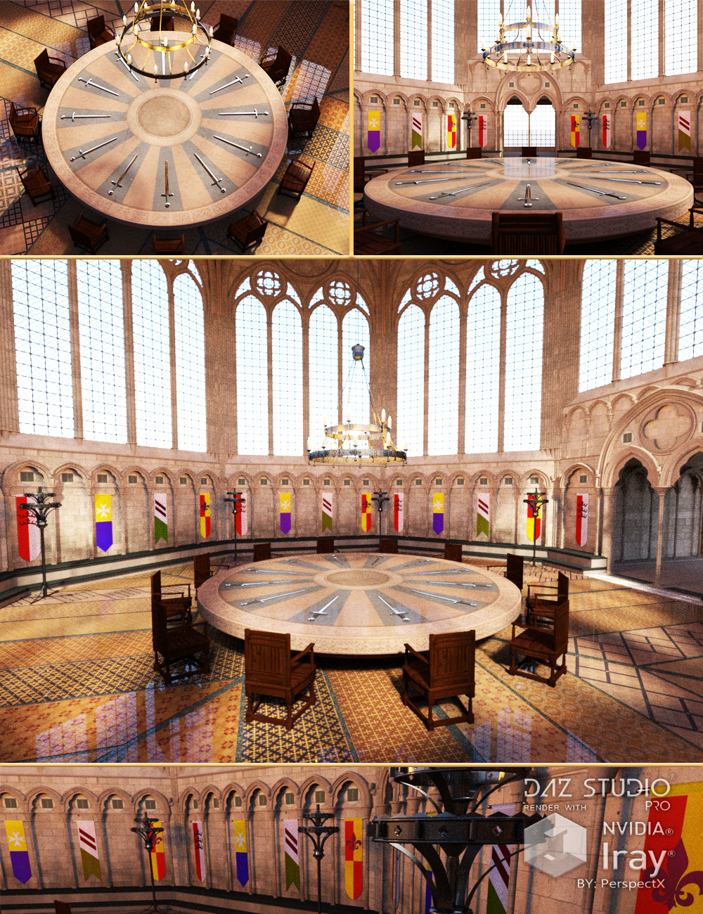 Great Hall of the Round Table by: PerspectX, 3D Models by Daz 3D