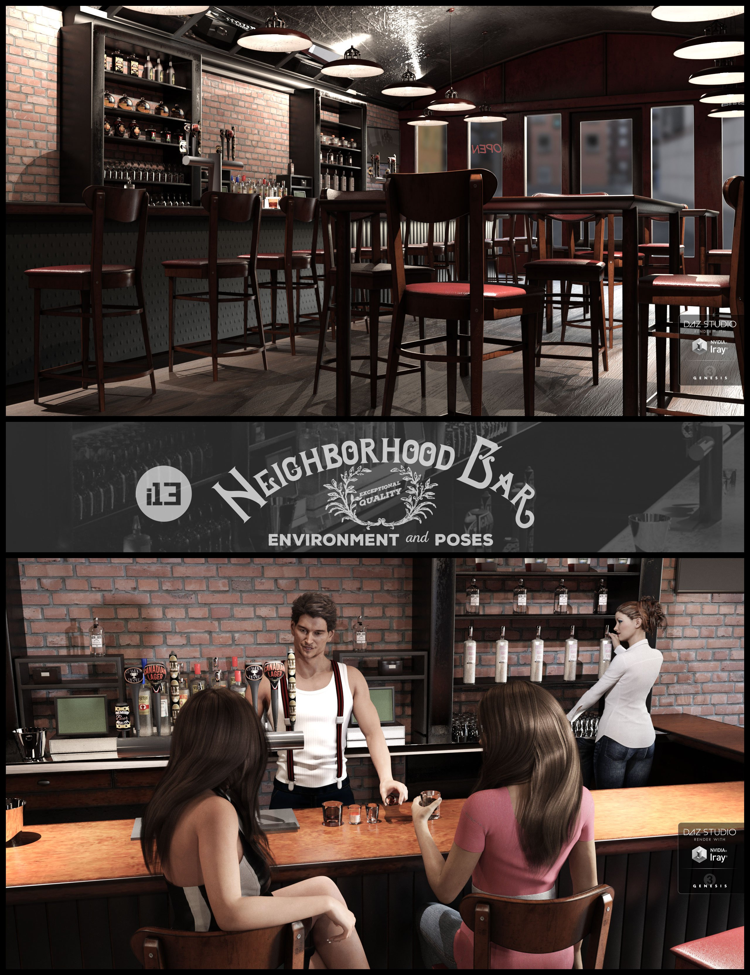 i13 Neighborhood Bar Environment with Poses by: ironman13, 3D Models by Daz 3D