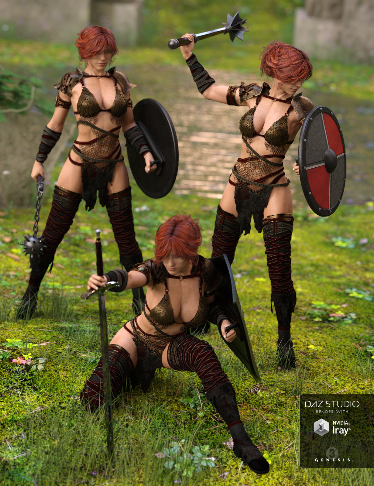 Defender Poses for Genesis 3 Female(s) by: Val3dart, 3D Models by Daz 3D