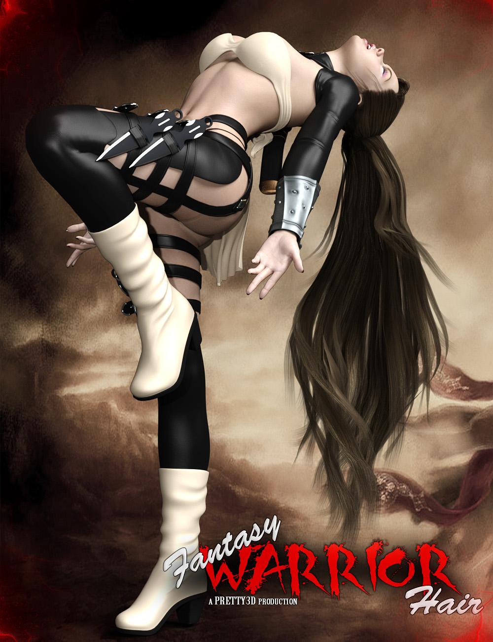 Fantasy Warrior Hair for Genesis 3 Female(s) by: Pretty3D, 3D Models by Daz 3D