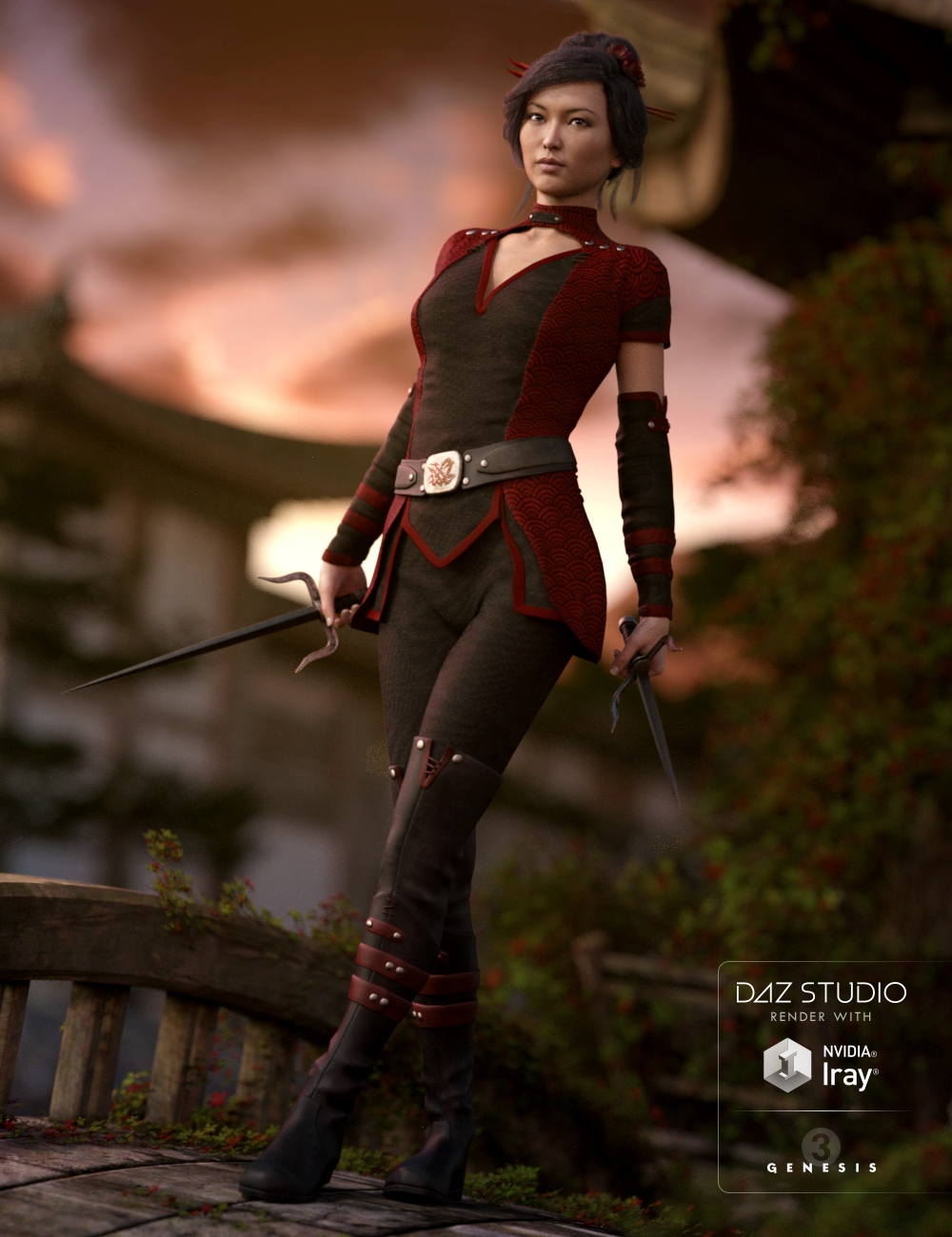 Darkshade Outfit for Genesis 3 Female(s) by: DAZ 3D Print, 3D Models by Daz 3D