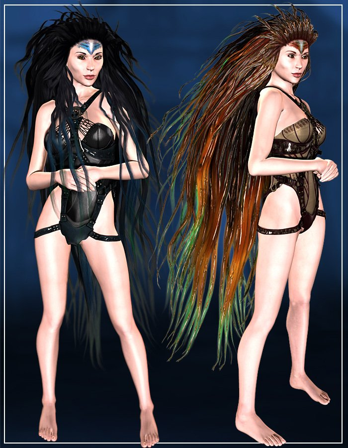 SeaFolk KelpHair for V4, A4, M4 and H4 by: ArkiRuntimeDNA, 3D Models by Daz 3D