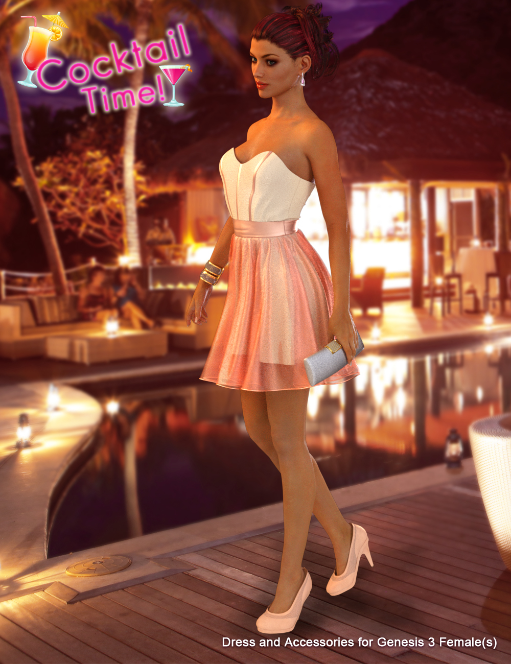 Cocktail Time for Genesis 3 Female(s) by: Blue Rabbit, 3D Models by Daz 3D