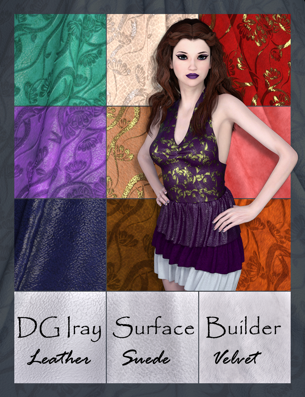 DG Iray Surface Builder - Leather Suede Velvet - Shaders and Merchant Resource by: IDG DesignsDestinysGarden, 3D Models by Daz 3D