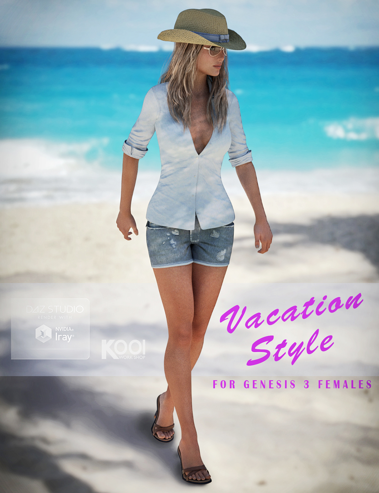 Vacation Style Set for Genesis 3 Female(s) by: Kool, 3D Models by Daz 3D