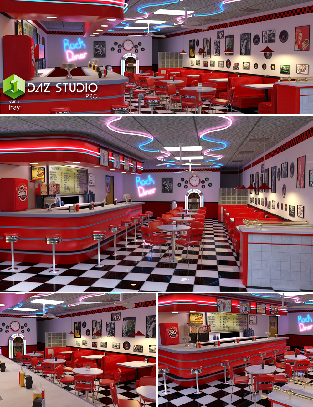 50 S Diner 3d Models And 3d Software By Daz 3d