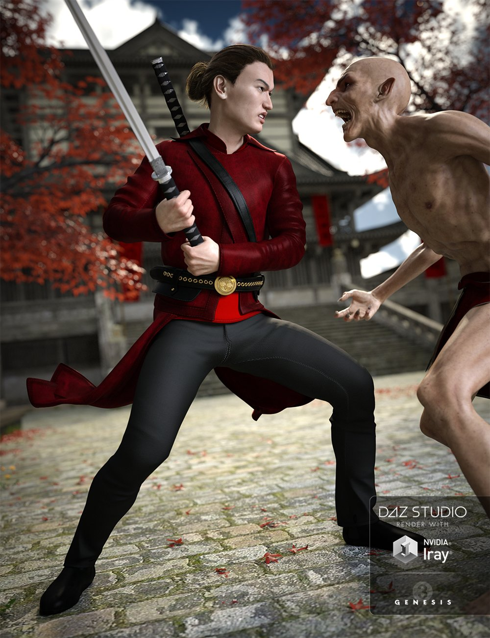 Vampire Hunter Outfit for Genesis 3 Male(s) by: MadaSarsa, 3D Models by Daz 3D
