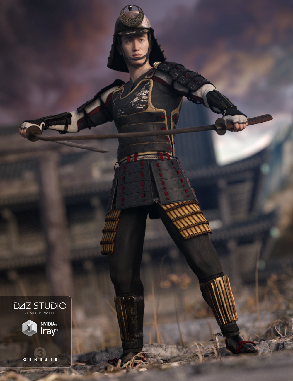 Shi No Kage Samurai Armor for Genesis 3 Male(s) by: Barbara BrundonSarsa, 3D Models by Daz 3D